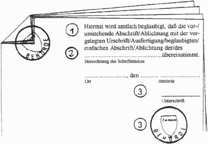 Beispielbild korrekte Beglaubigung mit Siegel, Schuppung und Unterschrift