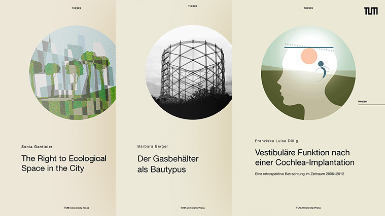 "Three covers of titles published in the series ""Theses"" of TUM.University Press"