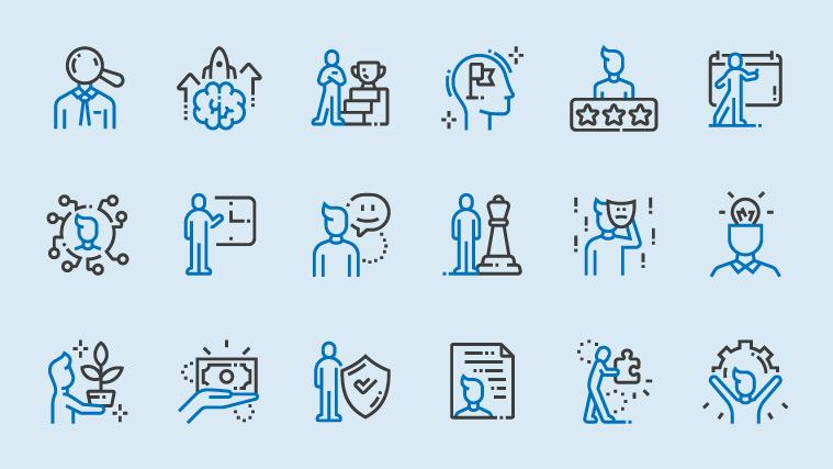 18 gezeichnete Figuren, unterschiedliche Situationen und Motivationen menschlichen Handelns darstellend
