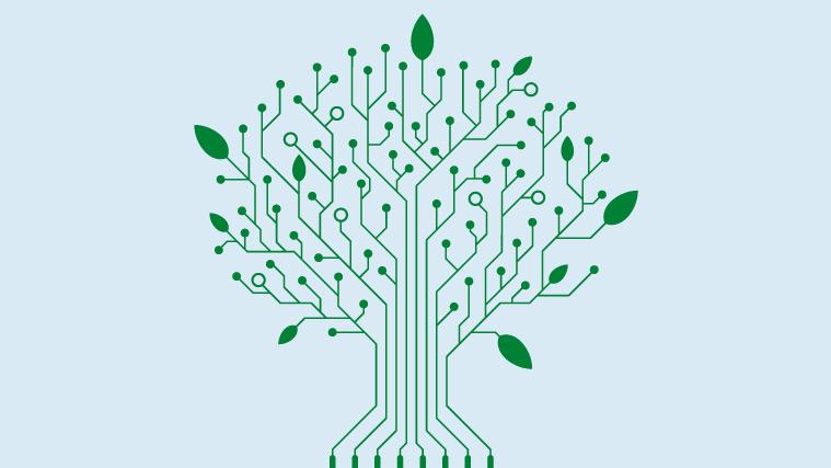 Schaltkreis in Form eines Baums, die Verknüpfung von Digitalisierung und Nachhaltigkeit symbolisierend