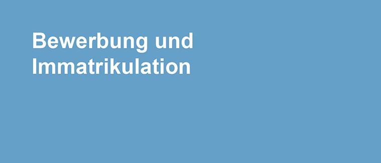 """Banner """"Bewerbung und Immatrikulation"""""""