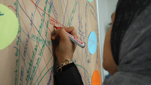 A woman writes in a mind map on a flip chart.