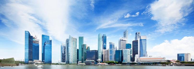 Die Skyline von Singapur.