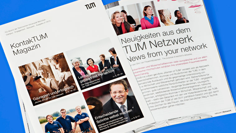 An opened issue of the alumni magazine TUMcampus published by the Technical University of Munich, issue 2/2012