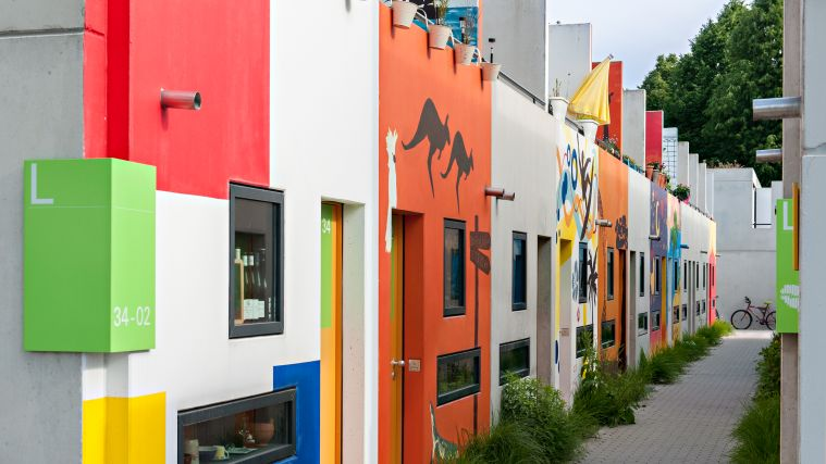 Colorful bungalows from students in the Olympic Village.