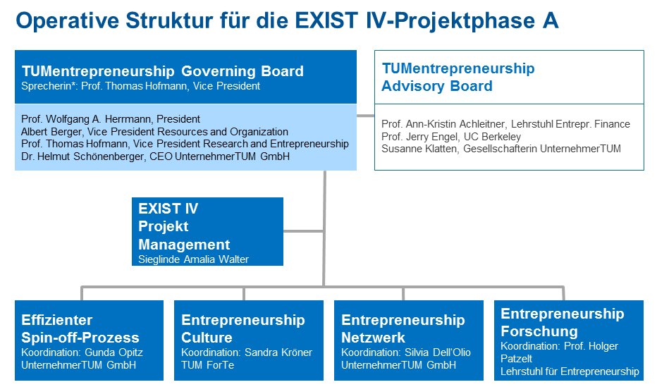"Chart with the organisation structure of the ""TUmentrepreneurship"" project."